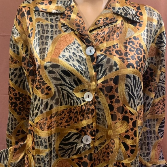 Impressions Tops - Polyester Long-Sleeve Button Down Blouse